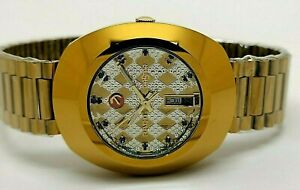 RADO DIASTAR MEN'S G/P AUTOMATIC DAY DATE MOD. WORKING USED WATCH TWO TONE DIAL