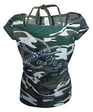 Kids Girls Army Combat Camouflage Print Embellished T-Shirt Top
