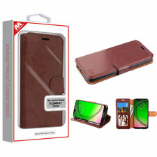 Motorola Moto G7 PLAY Revvlry Leather Wallet Case Cover Folio Pouch Stand BROWN
