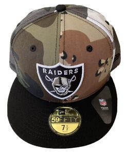 NEW ERA LAS VEGAS RAIDERS 7 1/2 $39 CAMO 59FIFTY HAT NFL DS OAKLAND TEAM ISSUE