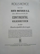 1960'S PUB ROLLS ROYCE HIRTH MOTOREN NECKAR KG CONTINENTAL MOTORS GERMAN AD