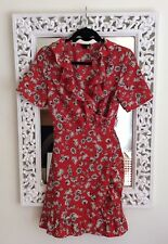 Topshop Red and Ivory Daisy Floral Wrap Dress, UK Size 8 Immaculate