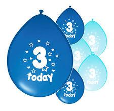 "10 X 3rd BIRTHDAY BOY BALLOONS ""3 TODAY"" THIRD BIRTHDAY BALLOONS MIX BLUE (PA)"