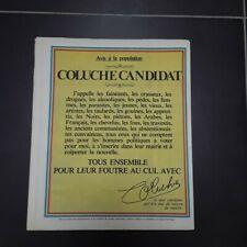 Coluche Candidat President 1981 Charlie Hebdo original, état exceptionnel