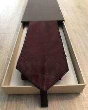 Vintage LOUIS VUITTON Burgundy Monogram Silk Suit Tie 100% Authentic New In Box