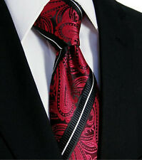 Red Paisley & Black White Stripe Tie Silk