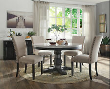 Modern Design 5pcs Dining Room Set - Round White Marble Table & Beige Chairs ACM