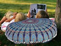 "32"" Indian Peacock Mandala Floor Pillow Meditation Round Cushion Cover Sham"