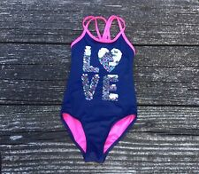 Justice Girls LOVE Flip Sequins One Piece Bathing Suit Size 6