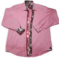 RGB Black Label Mens Button Down Flip Cuff Pink Dress Sport  Shirt XL RETAIL$135
