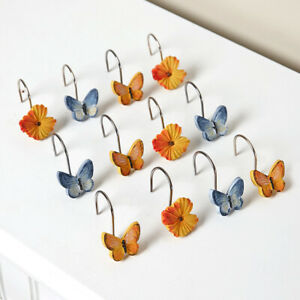 Watercolor Floral Accent Bathroom Shower Curtain Hooks - Set of 12