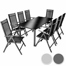 Aluminium 8+1 salon de jardin ensemble sièges meubles chaise table en verre