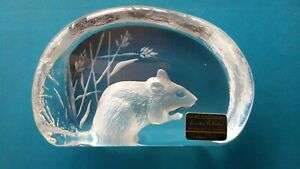 Mats Jonasson-Full Lead Crystal Field Mouse-Hand Made Sweden-Signed, Sticker