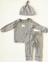Carters 9M Outfit Gray Striped 3 Piece Shirt Pants Hat Elephant Baby Set Unisex