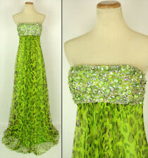 NWT Jovani Size 4 Prom Formal Cruise Long $450 Gown Green Strapless Animal Print