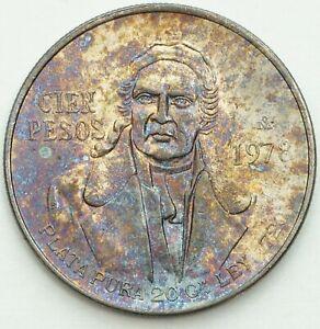 1978 MEXICO 100 PESOS SILVER BU TONED COLOR FLAWLESS GEM UNC CHOICE (DR)