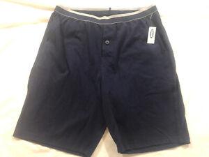Old Navy Mens Knit Sleep Shorts w/ pockets Navy Blue Sz XL NWT