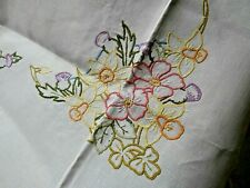 """VINTAGE IVORY IRISH LINEN TABLECLOTH/HAND WORKED FLORAL EMBROIDERY~40"""" x 44"""""""