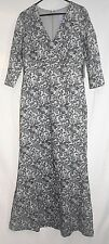 JS Collection Women's V Neck Embroidered Knit Gown, Silver, 14, NWT, Free Ship!
