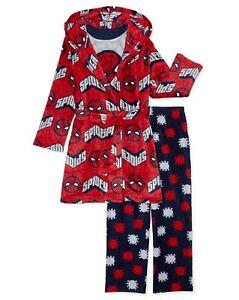 Spiderman 3 Piece Robe and Pajama Set Size 4 Boys Bathrobe Shirt Pant NEW NWT 4T