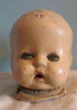 """Vintage Compostion Doll Head Parts 3 1/2 """" Open/Close Blue Eyes/Molded Hair"""