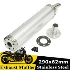 62 x 290mm Motorcycle Scooter Stainless Gp Exhaust Muffler Silencer Pipe Chrome