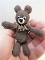 "Miniature Artist made Brown Floppy Teddy Bear 3 1/2"" OOAK by Beth Diane Hogan"