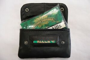 Leather Tobacco Pouch Organizer with Space for Money Black For 50 Grams Tobacco