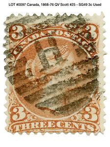0097: Canada, 1868-76 QV Scott #25 - SG49 3c Used