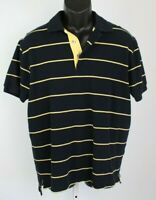 Charles Tyrwhitt Men's Large Polo Shirt Short Sleeve Top navy blue yellow stripe