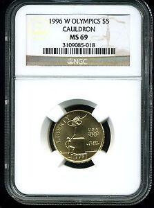 1996-W $5 Olympics Cauldron Commemorative Gold Five Dollar MS69 NGC