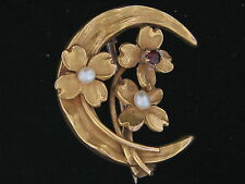 Estate 10K Yellow Gold Crescent Moon and Flower Brooch with Seed Pearls