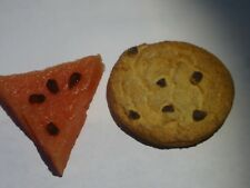 """Vintage WATERMELON COOKIE Realistic KITCHEN MAGNET Lot of 2 - 2 1/2"""""""
