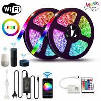 10M RGB 5050 Waterproof LED Strip Light WIFI Alexa Smart Home Power Full Kit US