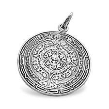 Runder XL Anhaenger Inka Maya Azteken Indianer Kalender Ornamente,Sterling-Si...