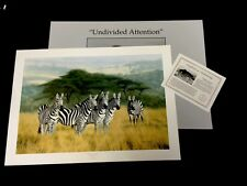 """Charles Frace """"Undivided Attention"""" Zebras S/# lithograph  Ed 3300  >34"""" 1990"""