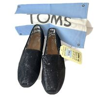 Womens 6Y Toms Black Glitters Canvas Flats Slip On Loafers Moccasin Shoes Youth