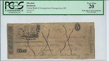 $5 1815  Washington DC Union Bank Georgetown PCGS VF20 Pen Cancelled