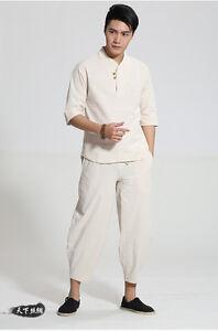 white Chinese men's 100% cotton kung fu suit pajamas sets SZ: S-XXL