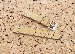 TZEVELION French Leather Buckskin Lined Riveted Aviator Watch Strap 22mm Tan