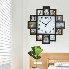 New Wall Clock Black Hanging Modern 12 Multi Photoes Family Pictures Frame Clock