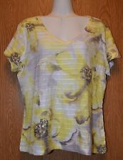 Womens Pretty Yellow Floral JM Collection Cap Sleeve Shirt Size Large excellent