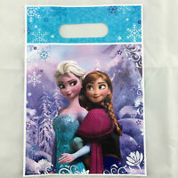 10x Disney Frozen Party Anna Elsa Plastic Loot Lolly Bags Treat Bag Party Supply