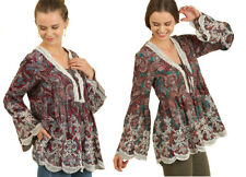 UMGEE Womens Bohemian Embroidery Crochet Boho Long Bell Sleeve Top Blouse S M L