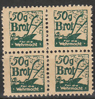 Stamp Germany Revenue Block WW2 War 3rd Reich Tax Ration 50g Bread Food MNH