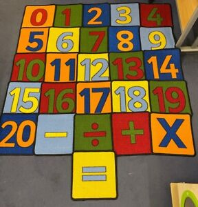 Numbered Carpet Squares • Set Of 26 • (Numbers 0-20 & 5 Signs)