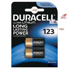 2 x DURACELL Ultra CR123 3 V Litio Foto Batteria DL123A/CR17345 scadenza 2024