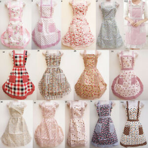 English Vintage Style Aprons Floral Cotton Outfit Shabby Chic Retro Pretty Pinny