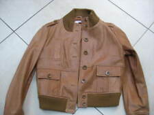 Ladies NEXT brown tan real Leather Jacket size UK 20 biker bomber harrington