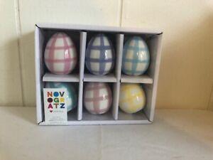 Novogratz Plaid Ceramic Easter Eggs Set of 6 Blue,Yellow, Pink Purple Farmhouse
